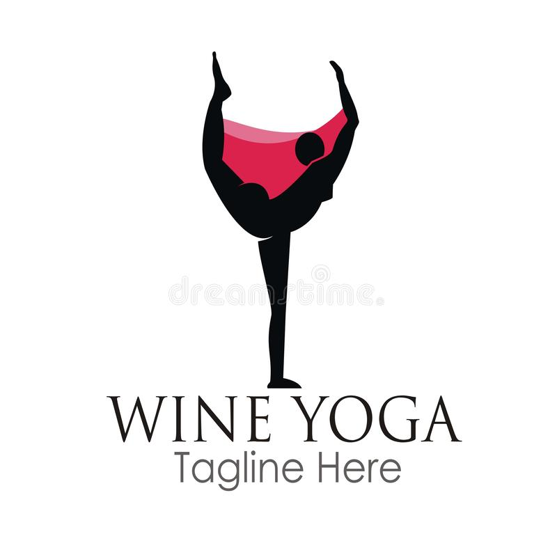 Wine yoga logo design. Concept isolated on white background royalty free stock image
