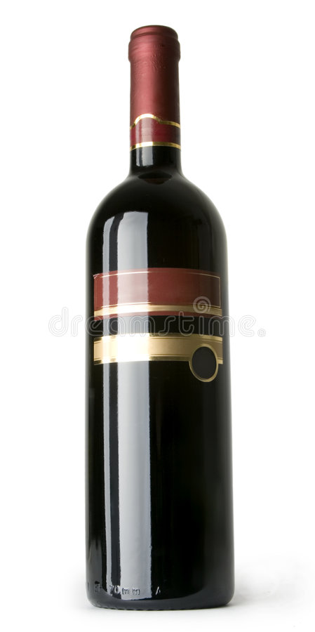 WineBottle rouge d'isolement photographie stock