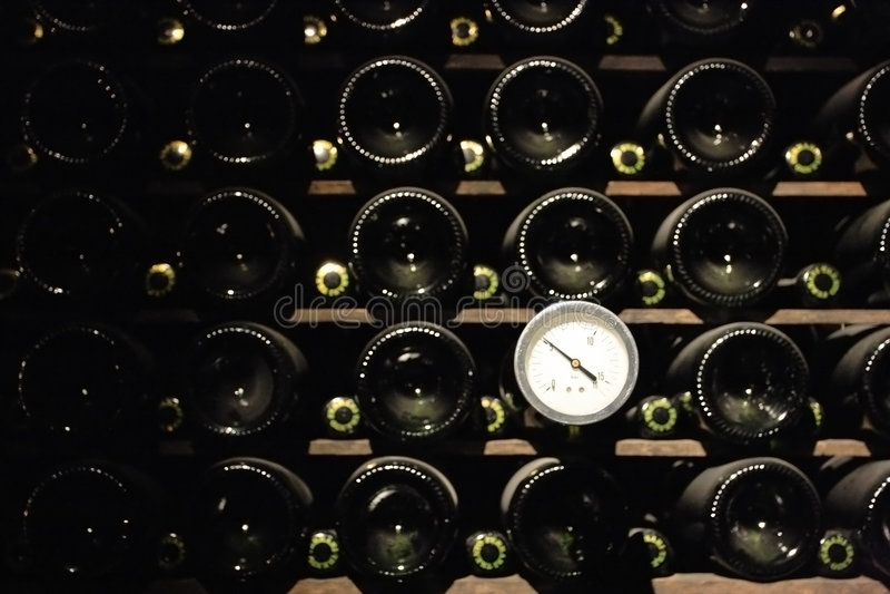 winecellar的termometer 免版税图库摄影