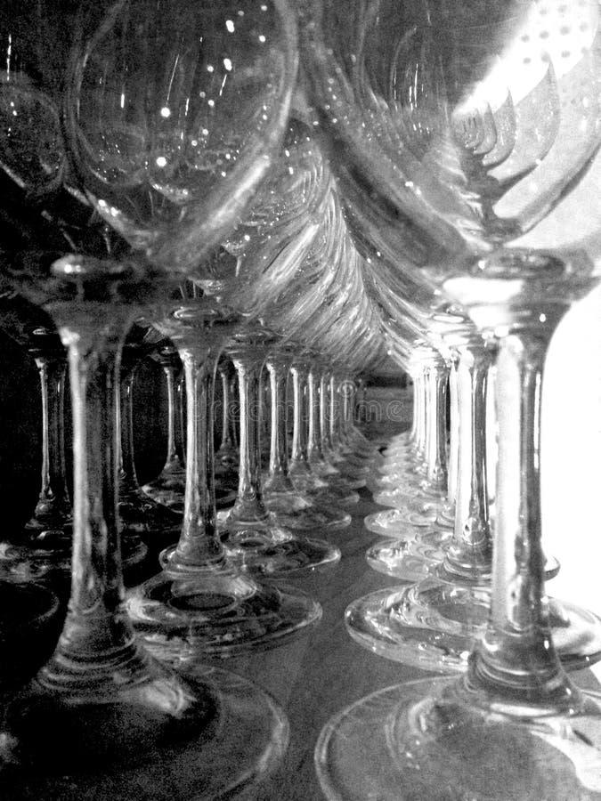 Wineexponeringsglas i en stång royaltyfri bild