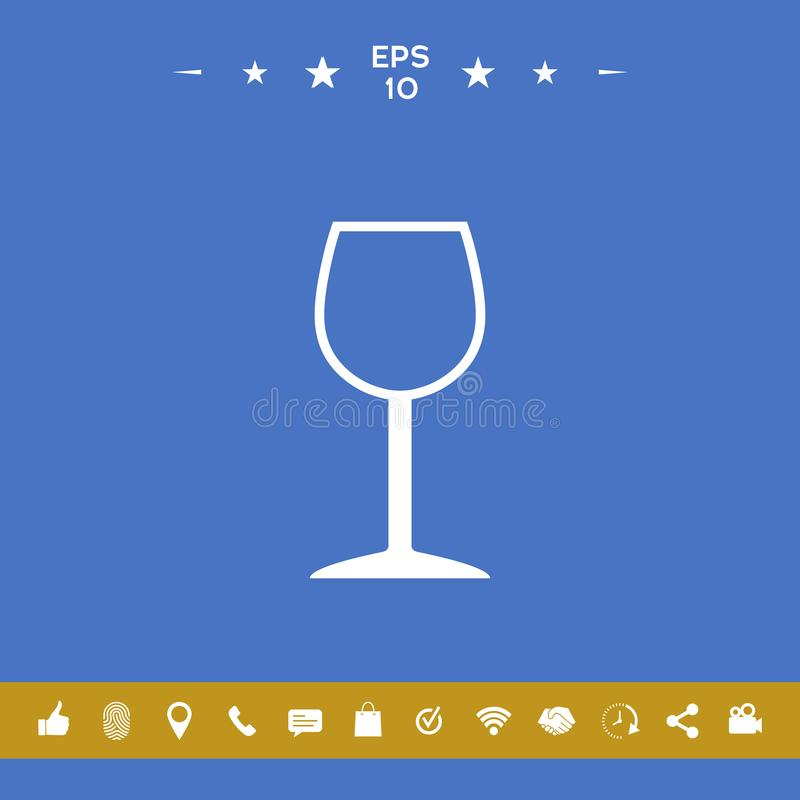 Wineglass εικονίδιο συμβόλων διανυσματική απεικόνιση