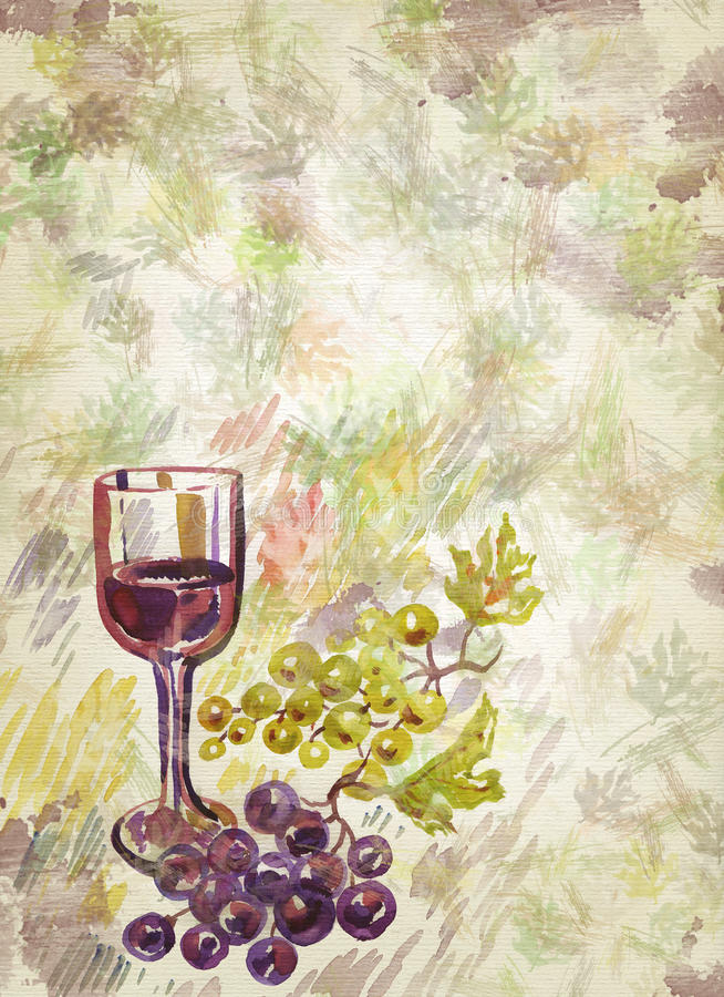 Wineglass and bunch of grapes royalty free illustration