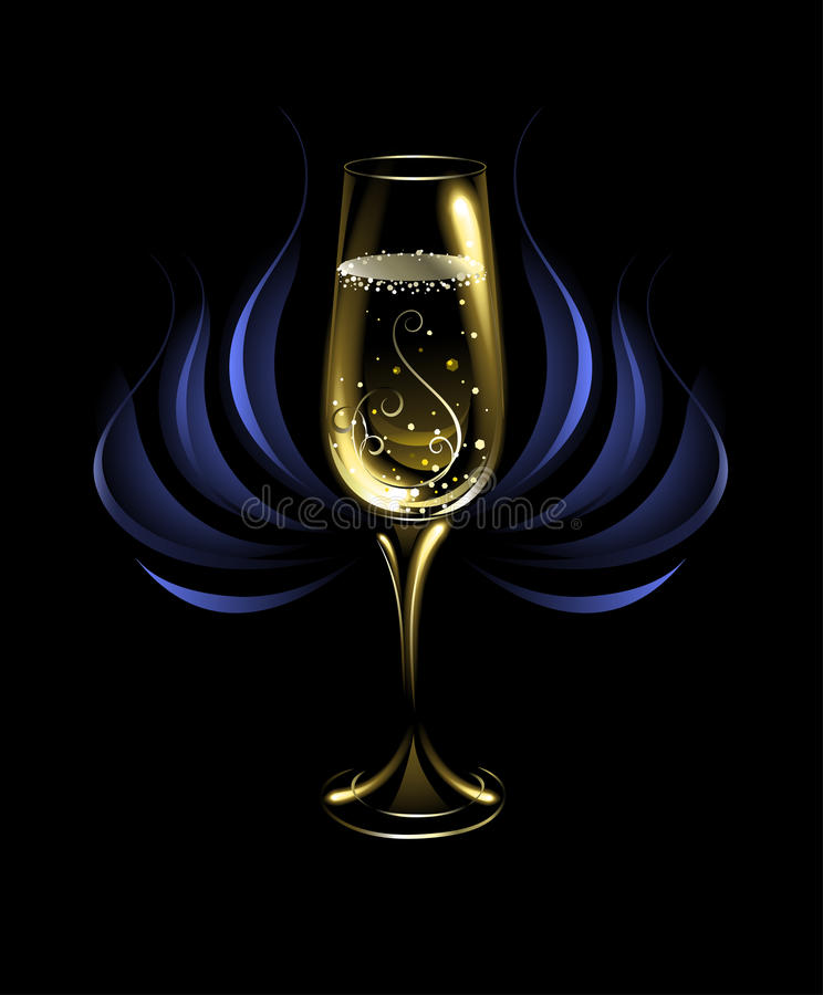 Wineglass of champagne stock photography