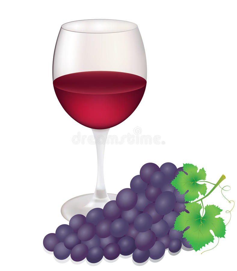 Wineglass and grapes royalty free illustration