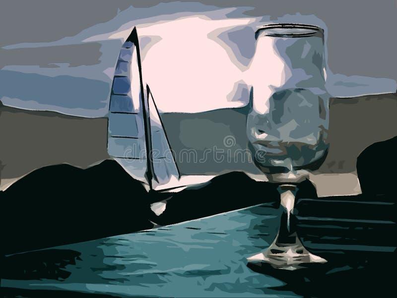 Wineglass i żaglówka w tle przy nocą royalty ilustracja