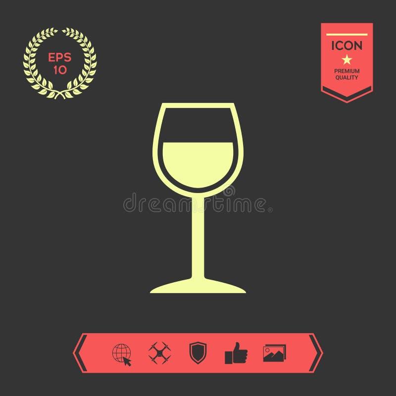 Wineglass symbol ja Graficzni elementy dla twój projekta royalty ilustracja