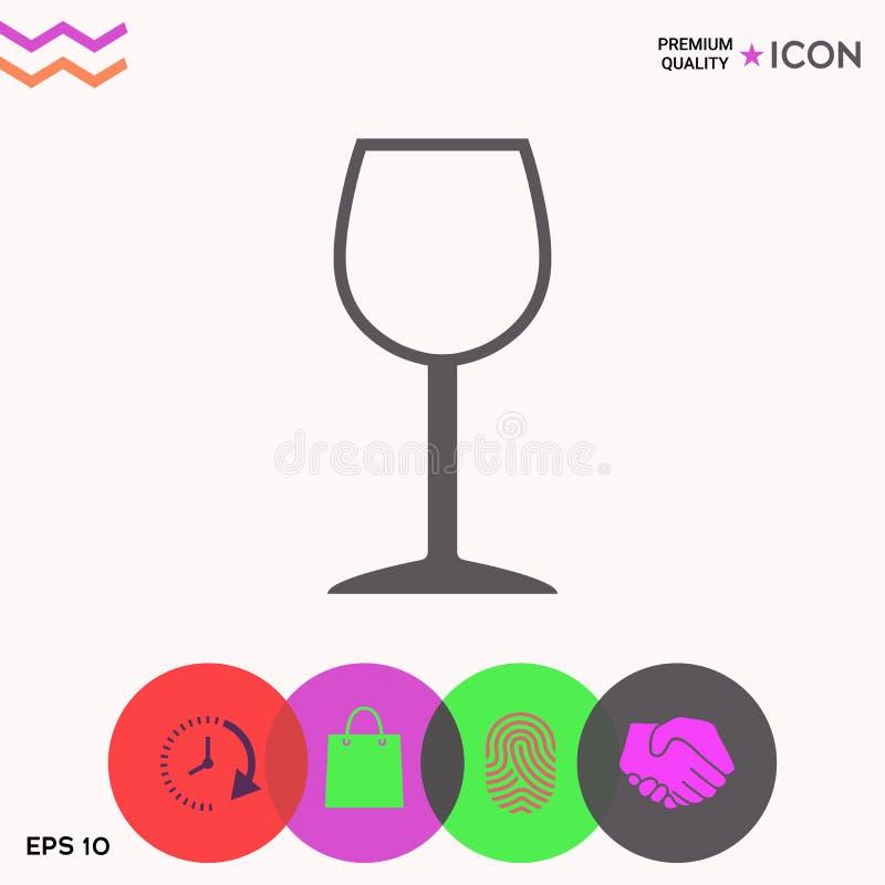 Wineglass symbolu ikona royalty ilustracja