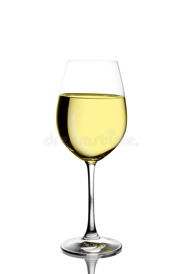 Wineglass with white wine stock images