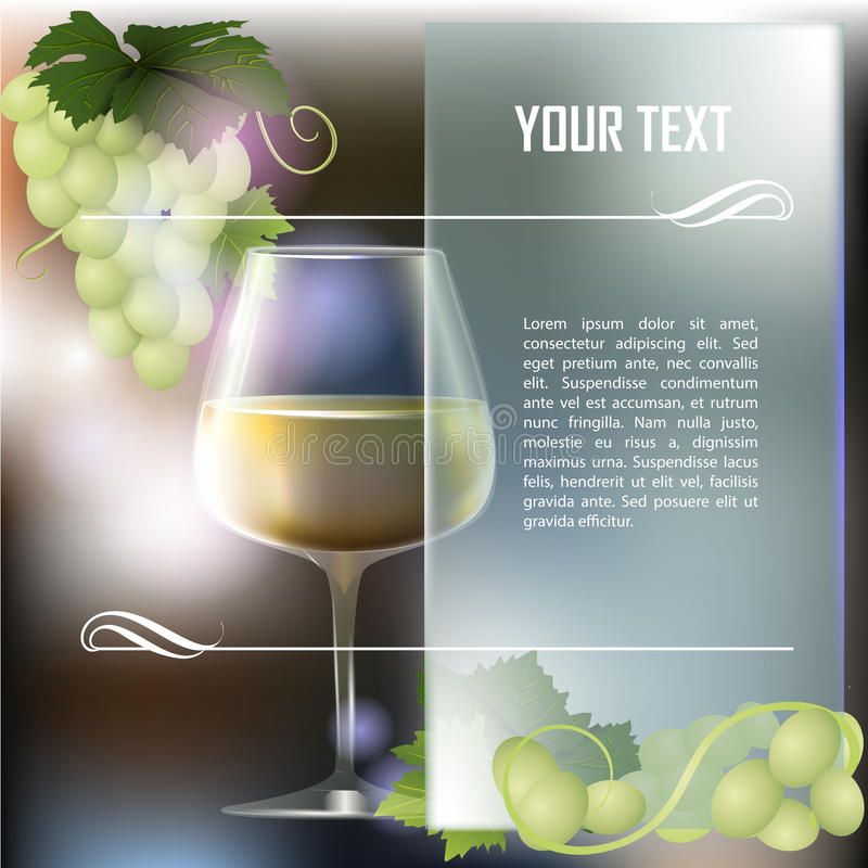 Wineglass of white wine and grapes stock illustration