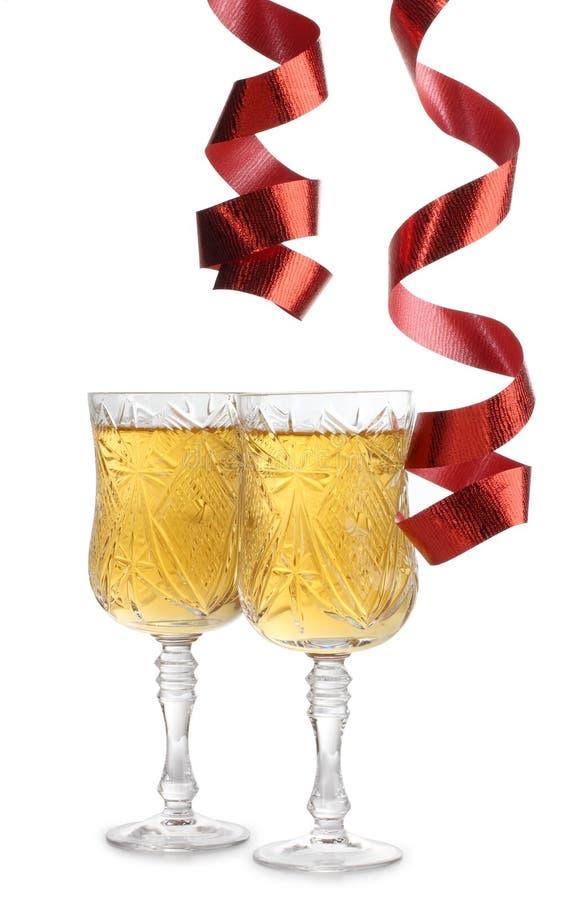 wineglasses κορδελλών στοκ φωτογραφία με δικαίωμα ελεύθερης χρήσης