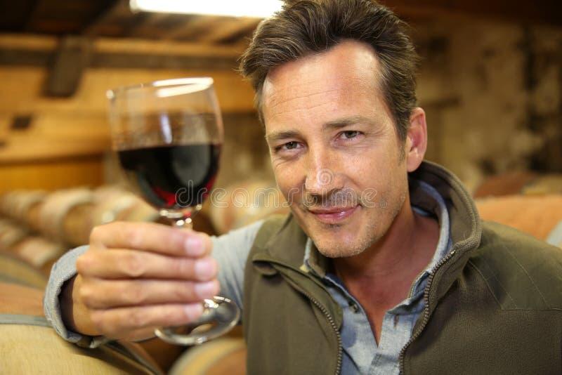 Winegrower держа бокал вина в погребе стоковая фотография rf