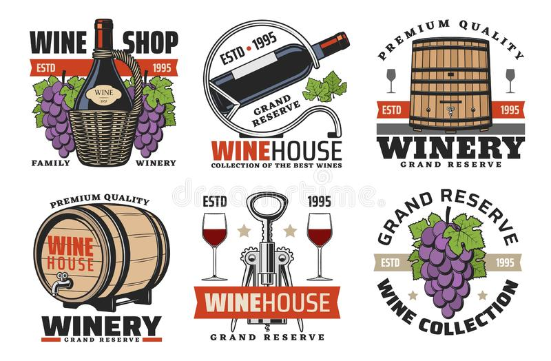 Winehouse icons, wine and winery production stock illustration