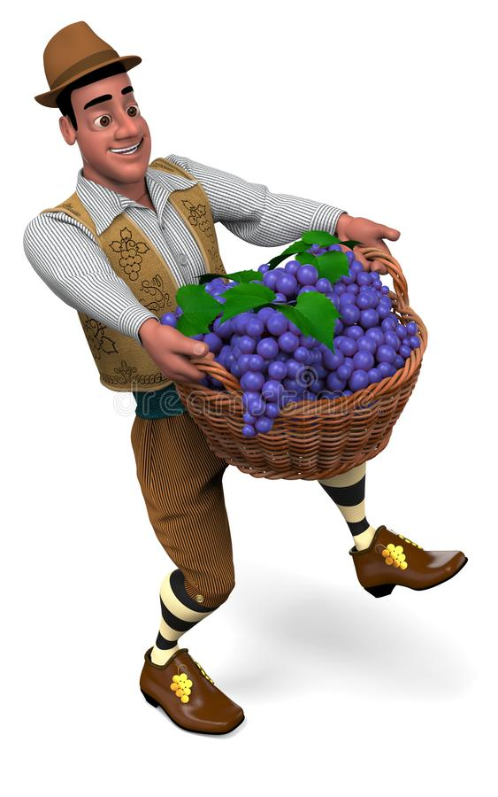 Winemaker with a basket of grapes. Winemaker at vintage suit and hat carries a big wicker basket with grapes. 3D illustration royalty free illustration