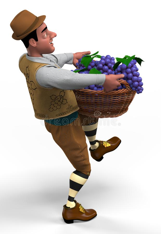 Winemaker with a basket of grapes. Winemaker at vintage suit and hat carries a big wicker basket with grapes. 3D illustration stock illustration