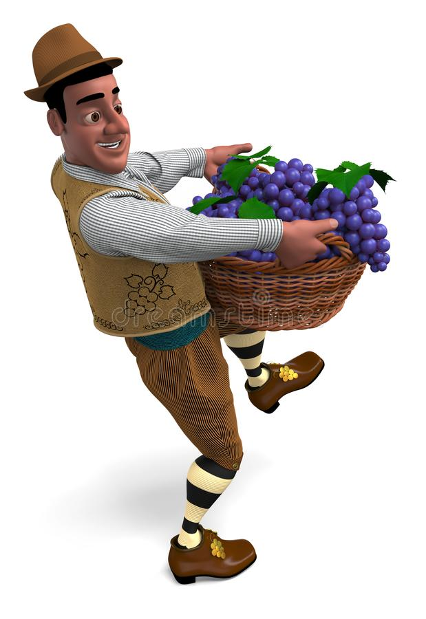 Winemaker with a basket of grapes. Winemaker at vintage suit and hat carries a big wicker basket with grapes. 3D illustration vector illustration