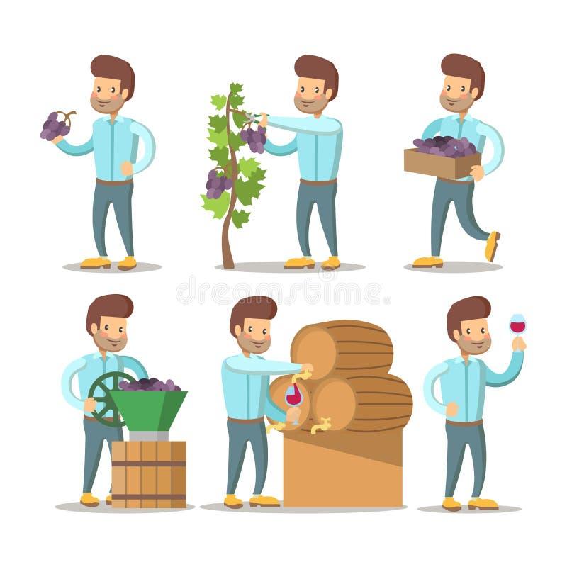 Winemaker Cartoon com uvas e vinho ilustração do vetor