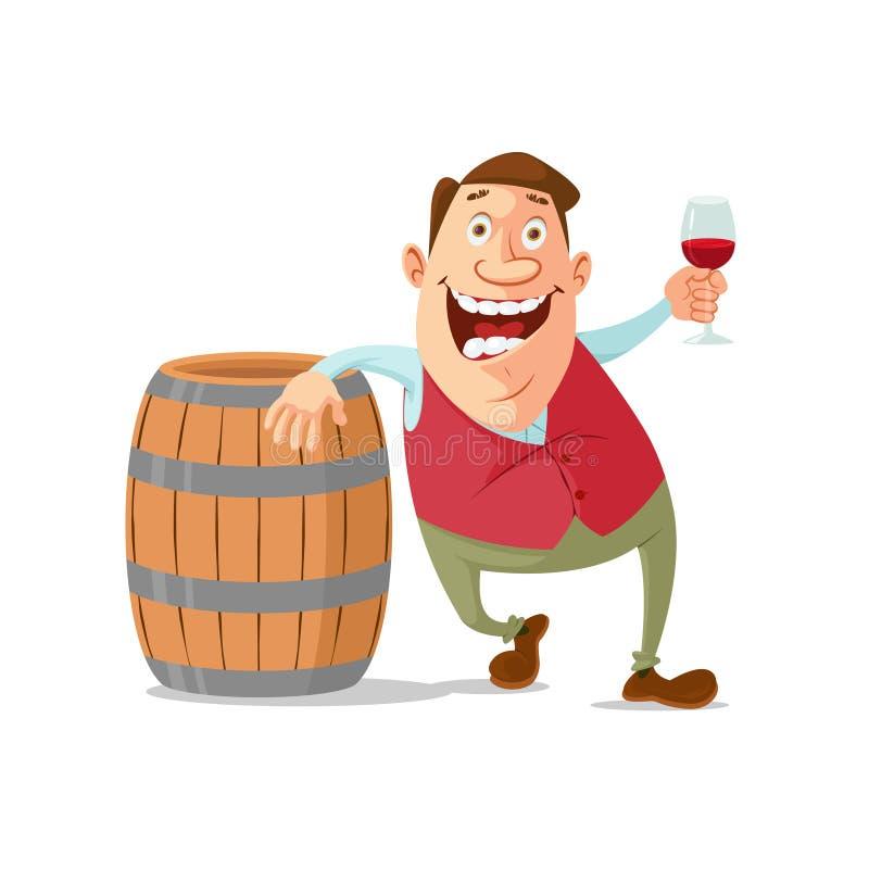 Winemaker die rode wijn proeven vector illustratie