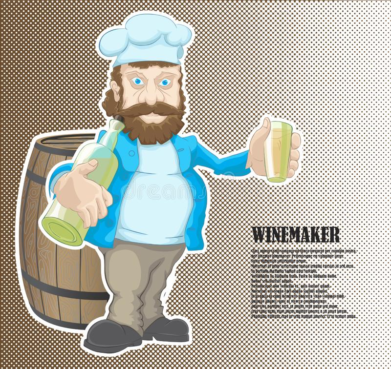 The winemaker gets drunk at work. A drawn winemaker character with wine vector illustration