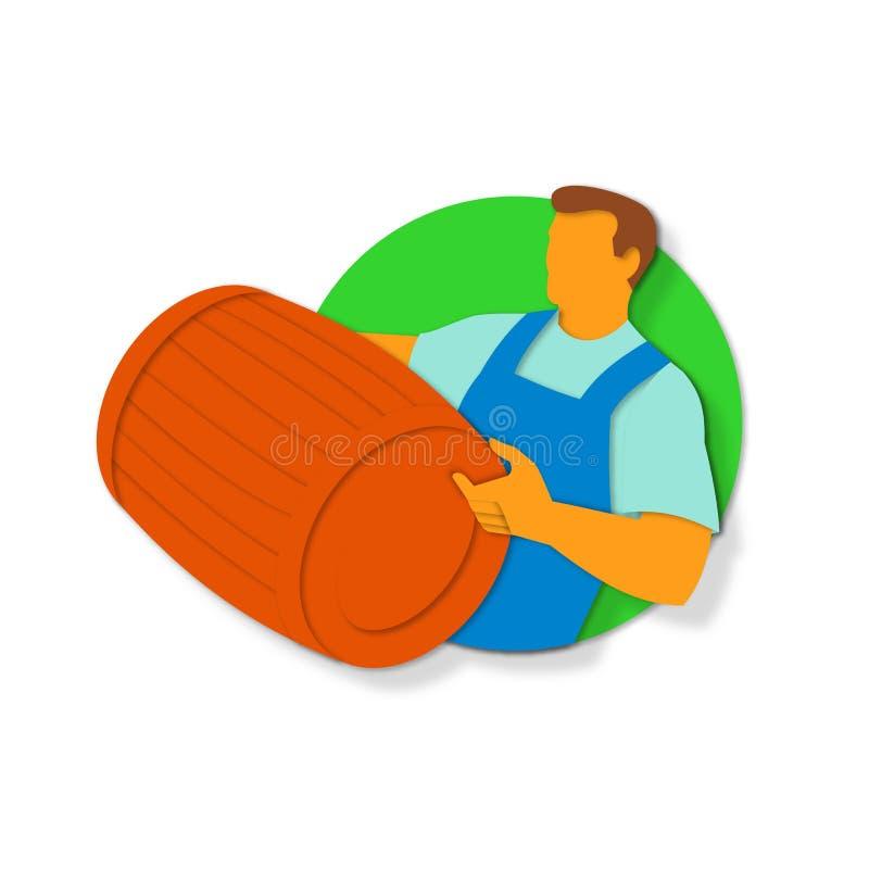Winemaker Holding Barrel Paper Cut. Paper cut style illustration of a winemaker, vintner or bartender holding wine barrel keg cask set inside circle done in stock illustration