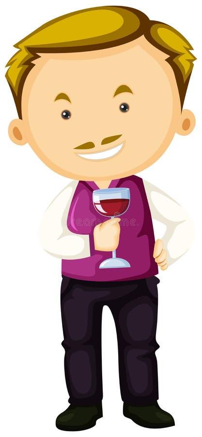Winemaker holding glass of red wine. Illustration vector illustration
