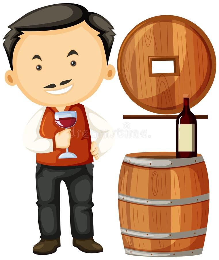 Winemaker holding glass of wine. Illustration stock illustration
