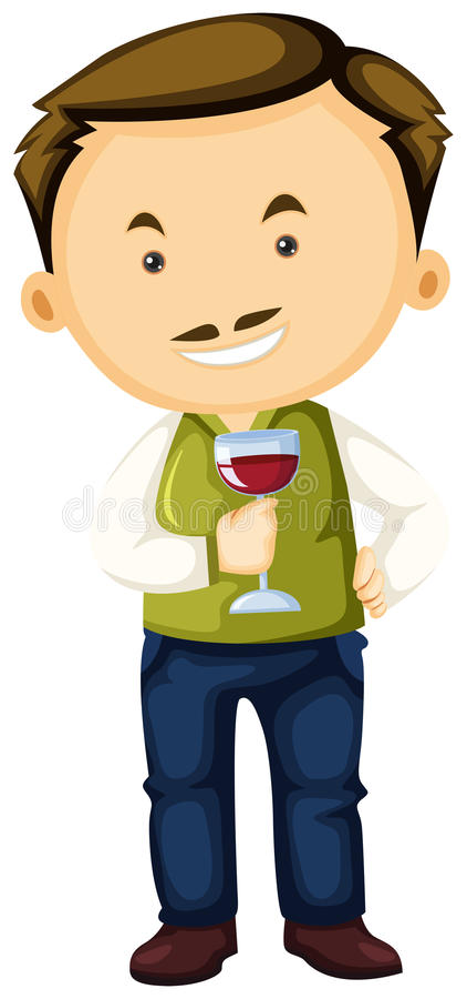 Winemaker holding wine glass in hand. Illustration royalty free illustration
