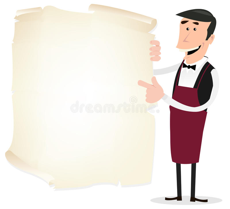 Winemaker Menu. Illustration of a french winemaker showing his wine card menu on a parchment royalty free illustration