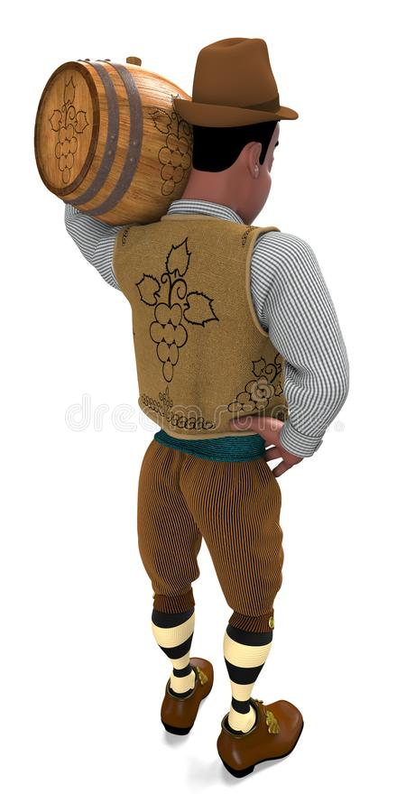 Winemaker with a wooden keg on his shoulder. Winemaker in the national costume holds a wooden barrel with wine. He wears a hat, a striped shirt, a sleeveless royalty free illustration