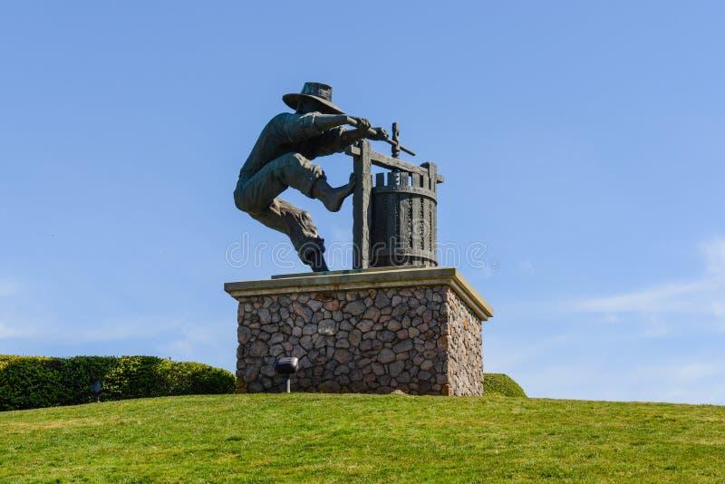Winemaker Statue in Napa-Vallei royalty-vrije stock afbeelding