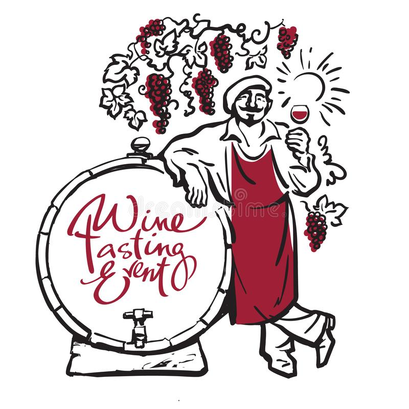 Winemaker tasting red wine in glass smiling leaning on barrel in vineyard. Hand drawn sketch vector. Winemaker tasting red wine in glass smiling leaning on vector illustration