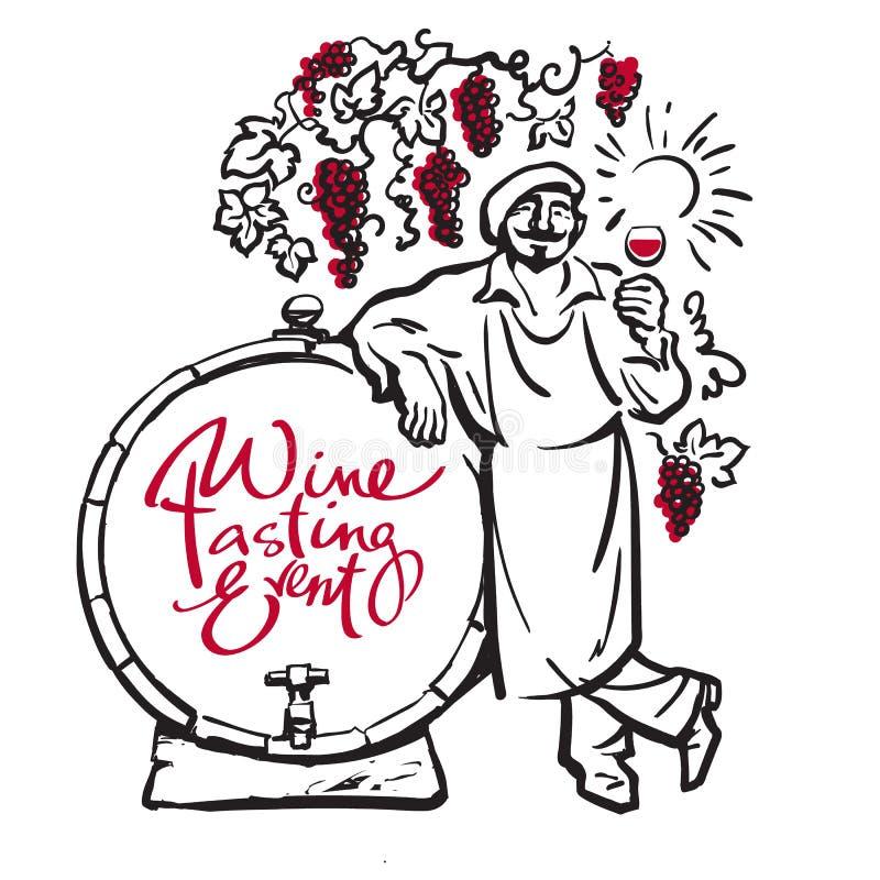 Winemaker tasting red wine leaning on barrel in vineyard. Vector. Winemaker tasting red wine leaning on barrel in vineyard Hand drawn sketch vector Design for royalty free illustration