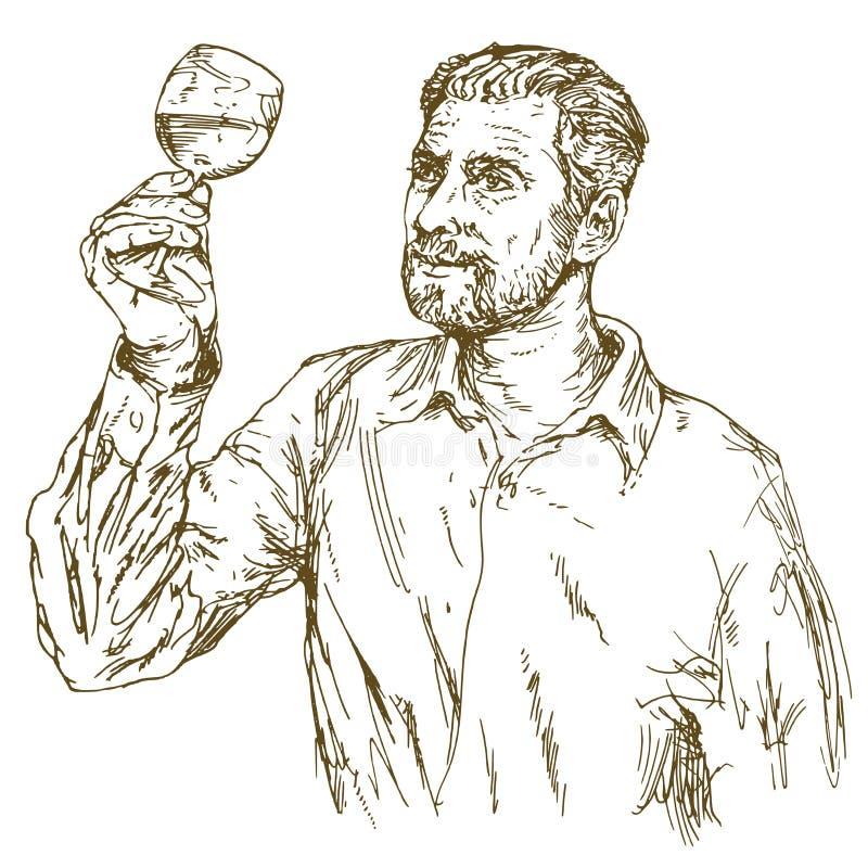Winemaker tasting wine. Hand drawn illustration vector illustration