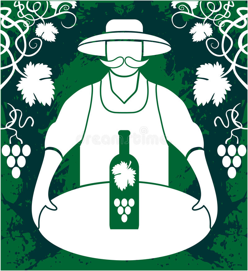 Winemaker with wine bottle. Grapes bunch isolated on greenbackground stock illustration