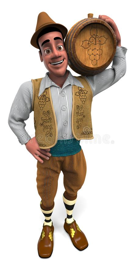 Winemaker with a wooden keg on his shoulder. Winemaker in the national costume holds a wooden barrel with wine. He wears a hat, a striped shirt, a sleeveless stock illustration