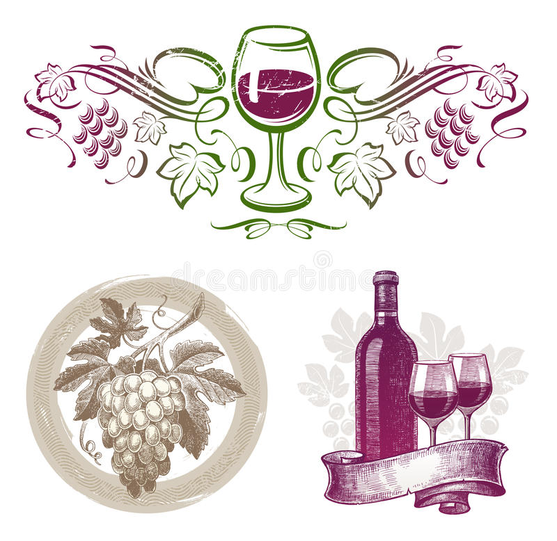 winemaking för emblemsetikettwine stock illustrationer
