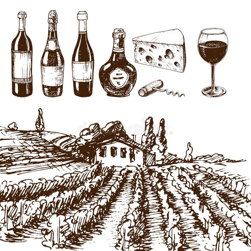 Winemaking för utkast för produktion för tappningvinodlingvin skissar handgjord stock illustrationer
