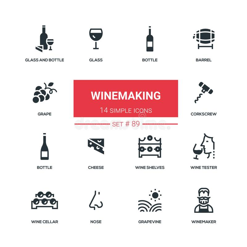 Winemaking - flat design style icons set. High quality black solid pictograms. Bottle and glass, barrel, grape, corkscrew, cheese, wine shelves, tester, cellar royalty free illustration