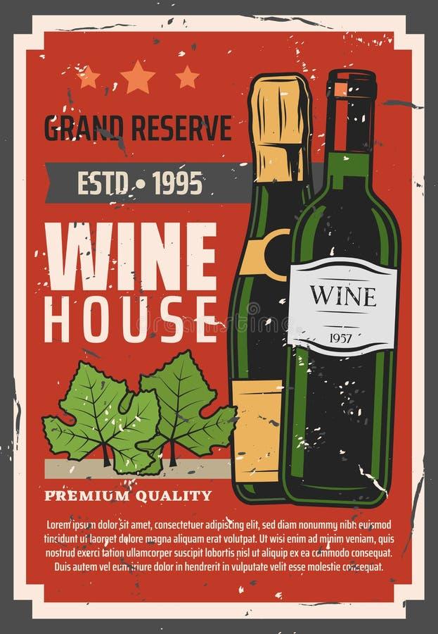 Winemaking, garrafa de vinho brut vermelha na adega do cofre-forte ilustração stock