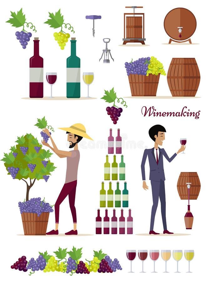 Winemaking Icon Set. Vintage Elite Strong Wine royalty free illustration