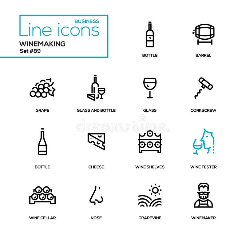 Winemaking - modern line design icons set. High quality black pictograms. Bottle and glass, barrel, grape, corkscrew, cheese, wine shelves, tester, cellar nose stock illustration