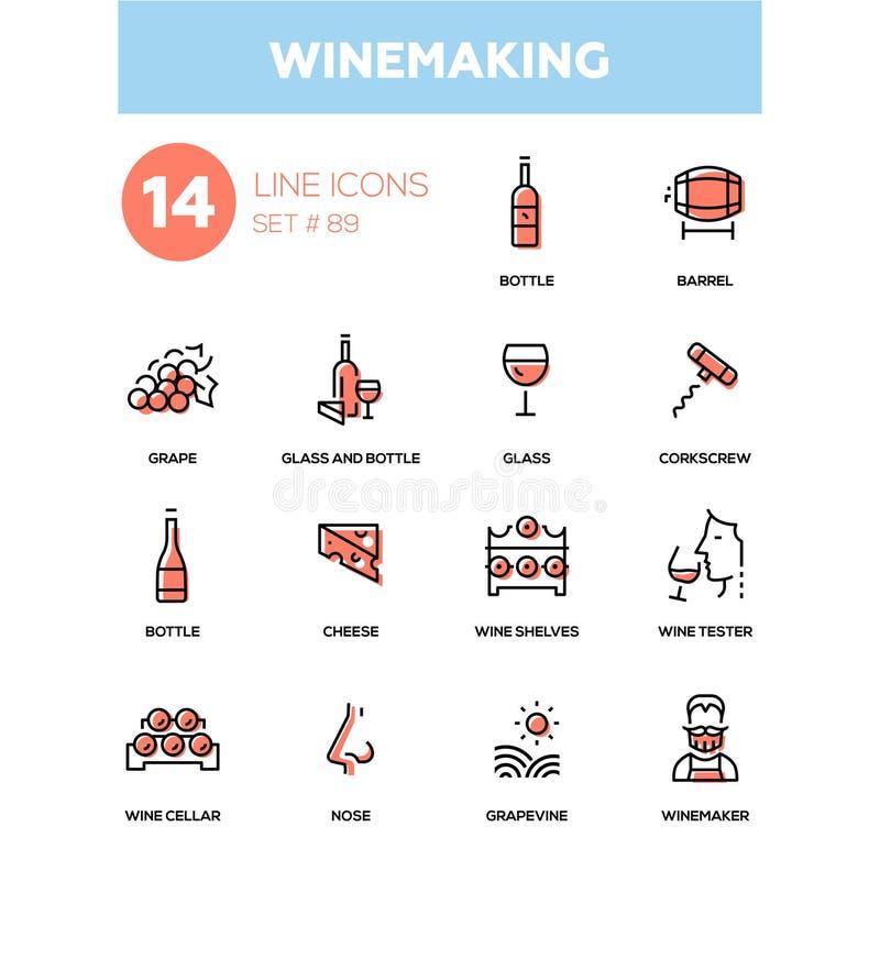 Winemaking - modern line design icons set. High quality black pictograms. Bottle and glass, barrel, grape, corkscrew, cheese, wine shelves, tester, cellar nose royalty free illustration