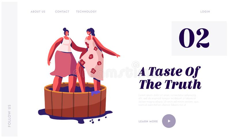 Winemaking Process, Harvest Festival Website Landing Page. Happy Smiling Women Stomping Grapes in Wooden Barrel. For Making Wine Drinks and Juice Web Page stock illustration