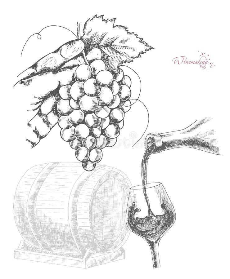 Winemaking vektorillustration stock illustrationer