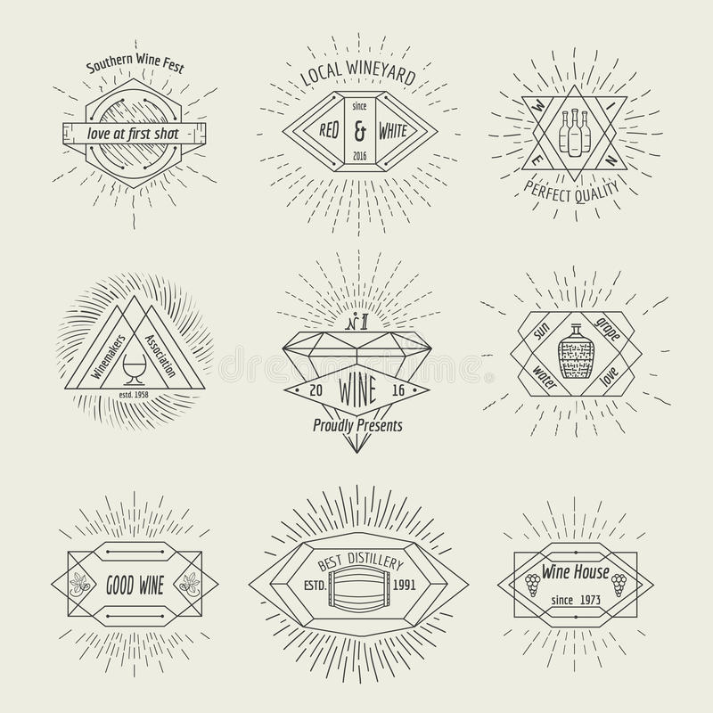 Winemaking and winehouse label or emblem set in royalty free illustration
