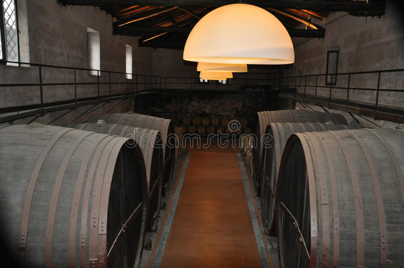 Winery with barrels Sicily Italy stock photo