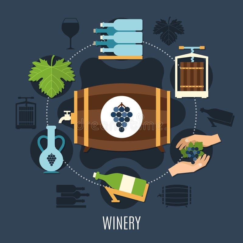 Winery Flat Concept stock illustration