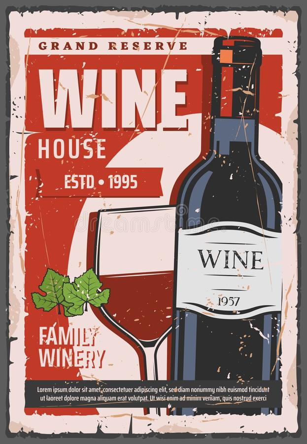 Winery industry, red wine bottle and wineglass vector illustration
