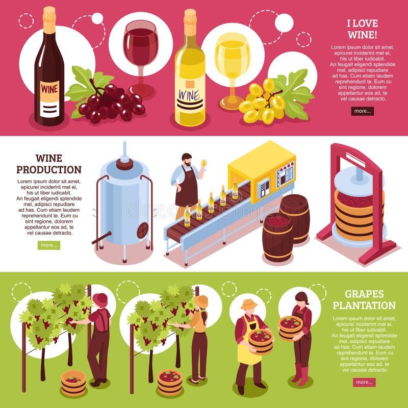 Winery Isometric Horizontal Banners vector illustration