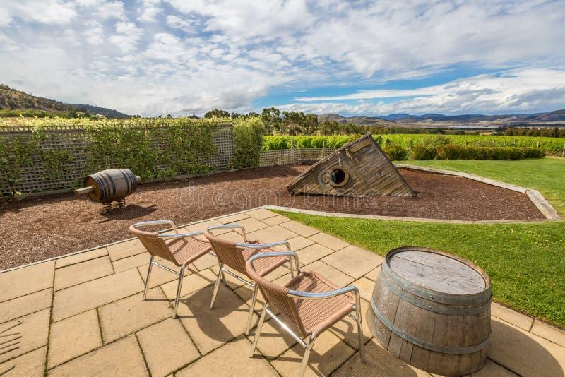 Winery Overlook. Frogmore Creek Winery overlook. Vineyard in the area between Richmond, Cambridge and Hobart in Tasmania, Australia royalty free stock photography