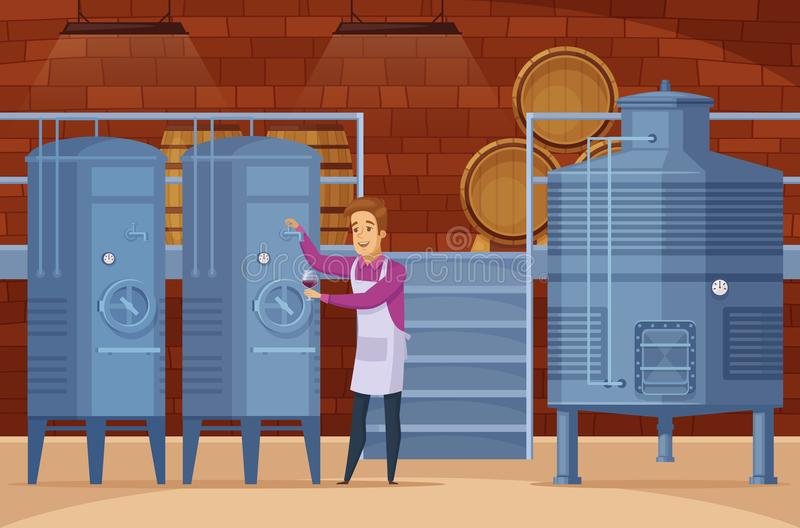 Winery Production Facility Cartoon Composition. Wine production equipment in winery facility cellar with winemaker tasting and evaluating product cartoon royalty free illustration